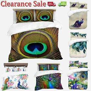 Digital-Print-Peacock-Duvet-Quilt-Cover-With-Pillowcases-Bedding-Set-All-Sizes