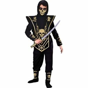 Details about NEW Skull Ninja Gold Cosplay Halloween Costume / Boys / Small  (6) Fun World