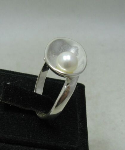 STYLISH STERLING SILVER RING SOLID 925 6mm PEARL SIZE G V R001146 EMPRESS