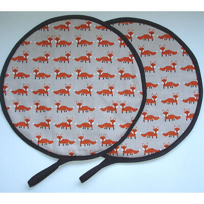 Lid Hob Covers Black Chef Chefs Pads Suitable for Aga PAIR with Loop Cotton