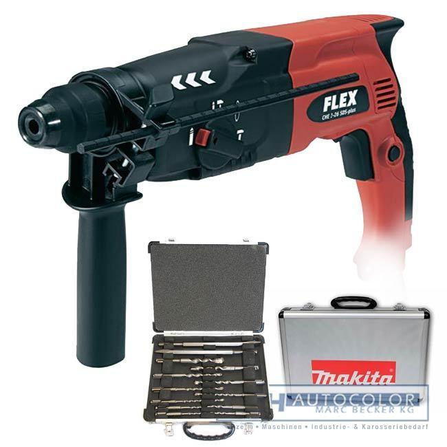 FLEX Bohrhammer CHE 2-28 SDS-plus inkl. Koffer + Makita SDS-plus Bohrer Meißel