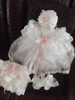 """DREAM NEWBORN BABY GIRLS PINK SILVER SPARKLES DRESS hbd or 17-19"""" REBORN dolls"""
