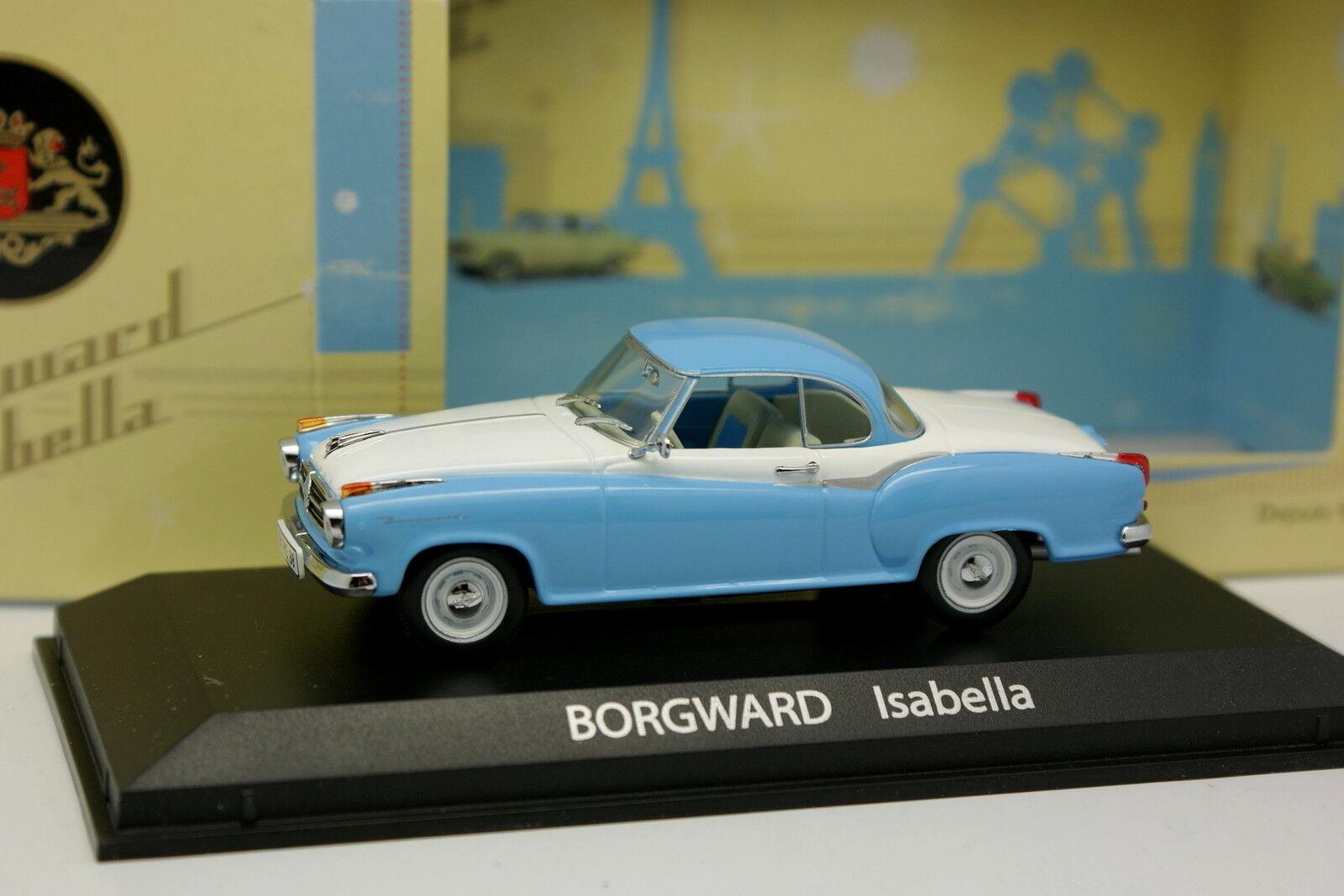 Norev 1 43 - Borgward Isabella Blanche et Bleue
