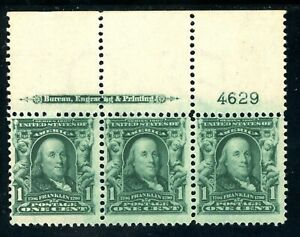USAstamps-Unused-FVF-US-Franklin-Plate-Imprint-Strip-Scott-300-OG-MNH