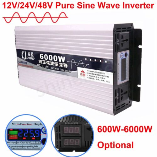 Pure Sine Wave Intelligent Power Inverter DC 12V 24V 48V to AC 110V 1000W-6000W