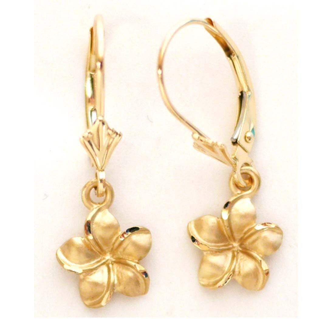 14K Solid Yellow gold Hawaiian Plumeria Flower Earring W  9 mm L  25 mm E2511-31