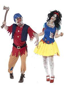 Parejas Mujer Hombre Zombie Blancanieves Enanito Disfraces Traje - Trajes-de-hallowen