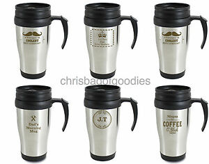 Image Is Loading Personalised Metal Thermal Insulated Travel Tea Coffee Mug