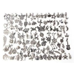 Lotti-all-039-ingrosso-di-massa-Argento-Tibetano-Mix-Charms-Ciondoli-gioielli-fai-da-te-JC