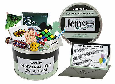 Details About 50th BIRTHDAY SURVIVAL KIT IN A CAN Gift Ideas Card For Him Her Men Women Dad