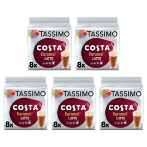 Tassimo Costa Caramel Latte Pack of 5 (Total of 40 Coffee Pods)