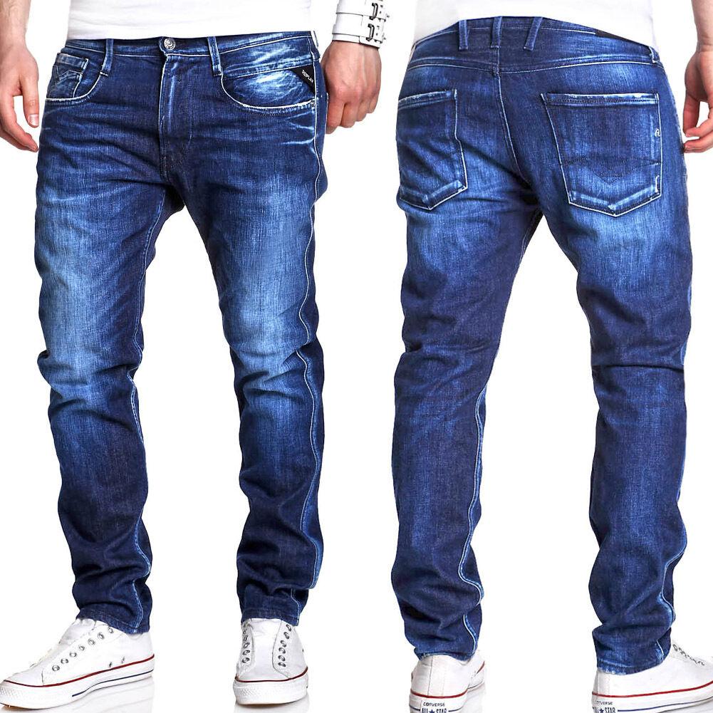 REPLAY Jeans ANBASS Röhrenjeans Slim Fit blue M914.000.443.652 NEU