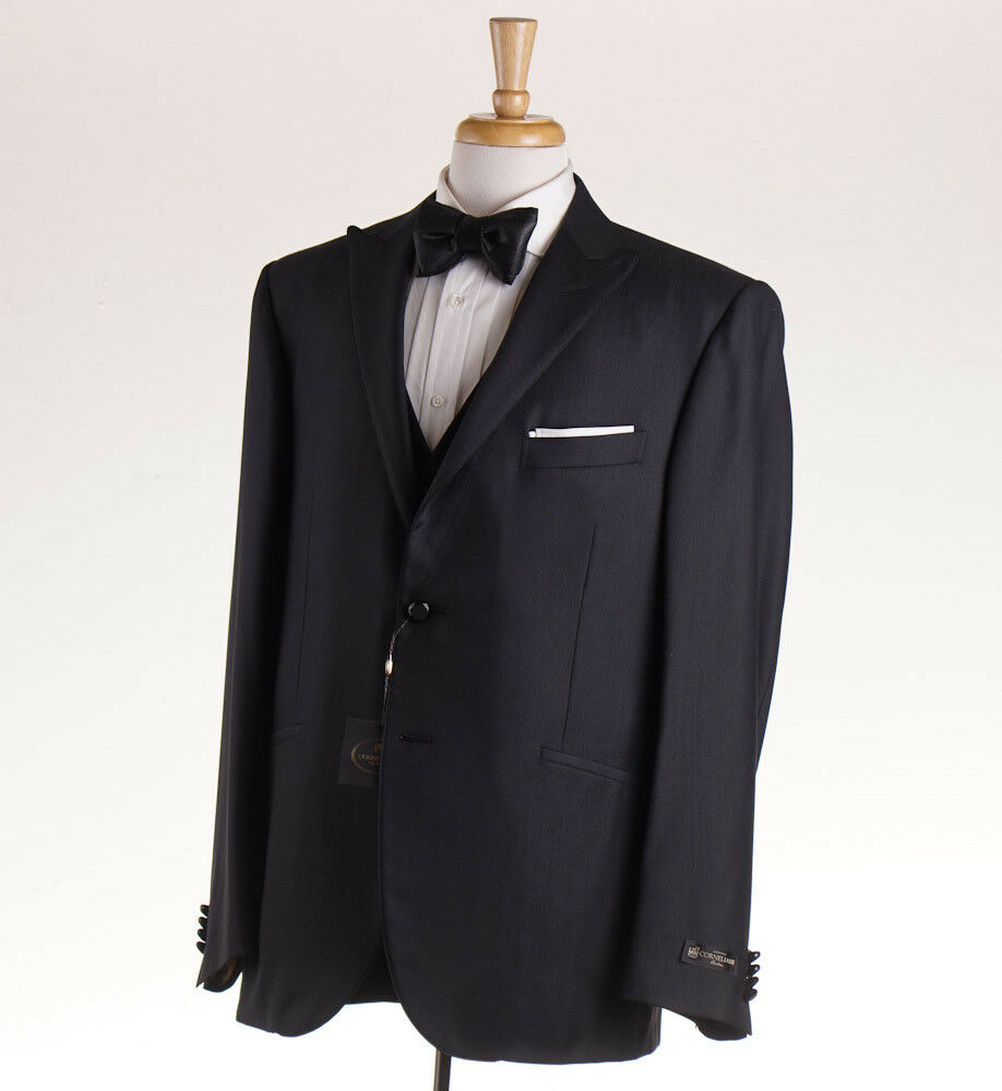 NWT 1975 CORNELIANI Dark grau Wool-Silk Peak Lapel Tuxedo 46 R (Eu 56) Suit