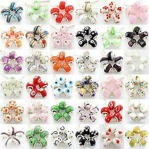 5pcs-Murano-Lampwork-Glass-Beads-Silver-For-European-Charm-Bracelet-G3