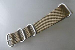 Nato-Band-Zulu-Uhrenarmband-Nylon-khaki-Rundringe-24-mm-Edelstahl-matt