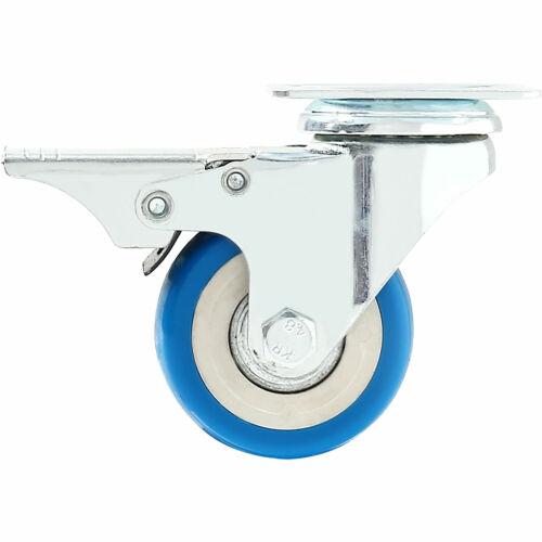 "12 Pack 2/"" Caster Wheel Swivel Plate Total Lock Brake Blue Polyurethane PU"