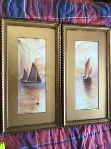Antique-vintage-pair-of-Gilt-framed-old-1913-original-signed-Watercolour-paintin