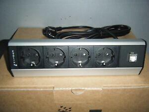 EVOLINE-Dock-Typ-930-4fach-Tischsteckdose-mit-LAN-Port-NEU-amp-OVP