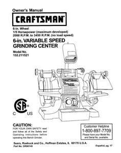 Prime Details About Craftsman 152 211521 Bench Grinder Owners Instruction Manual Ibusinesslaw Wood Chair Design Ideas Ibusinesslaworg