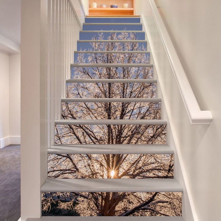 3D Tree sunset Stair Risers Decoration Photo Mural Vinyl Decal Wallpaper AU