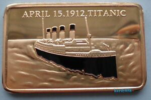 RMS-Titanic-100th-Anniversary-April-15-1912-Tragedy-Gold-Plated-1oz-coin-Bar