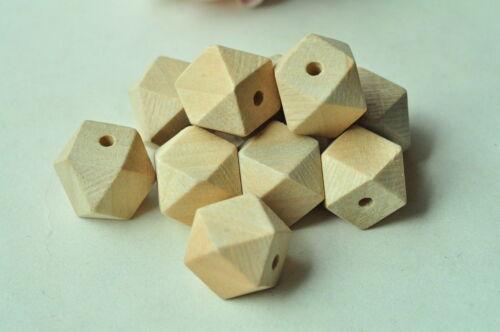Géométrique en Bois Perle inachevée en bois naturel 14 Hedron Figure Solide à Facettes