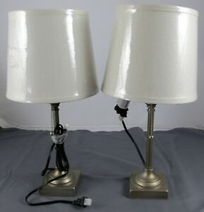 """2x MainStays 19"""" Tall Silver Finish Table Lamps w/ Light ..."""