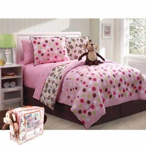 Monkey Full Girl Bed In A Bag Pink Brown Polka Comforter