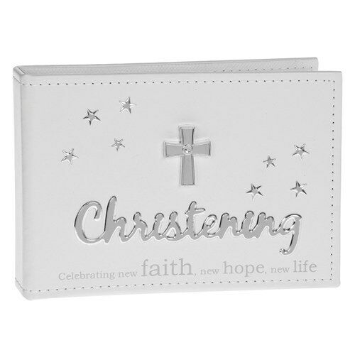 "Sentiments White CHRISTENING PHOTO ALBUM Gift Boxed takes 6 x 4/"" photos 70520"