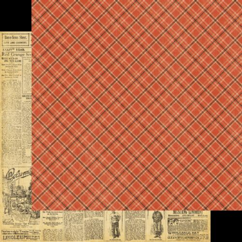 Graphic45 NEWSWORTHY 12x12 Dbl-Sided Scrapbooking Paper JUST 99 CENTS! 2pc