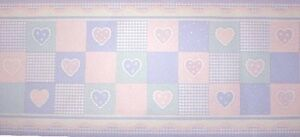 Kidsline AMORE Hearts Gingham PATCH QUILT Pastel Purple Pink Nursery WALL BORDER
