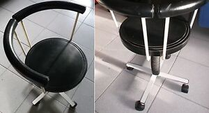 Tumidei sedia con rotelle per scrivania bianco e nero vintage