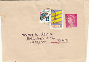 Stamps Australia 11c on 7c QE2 newspaper wrapper uprated 69c & sent to Tahiti