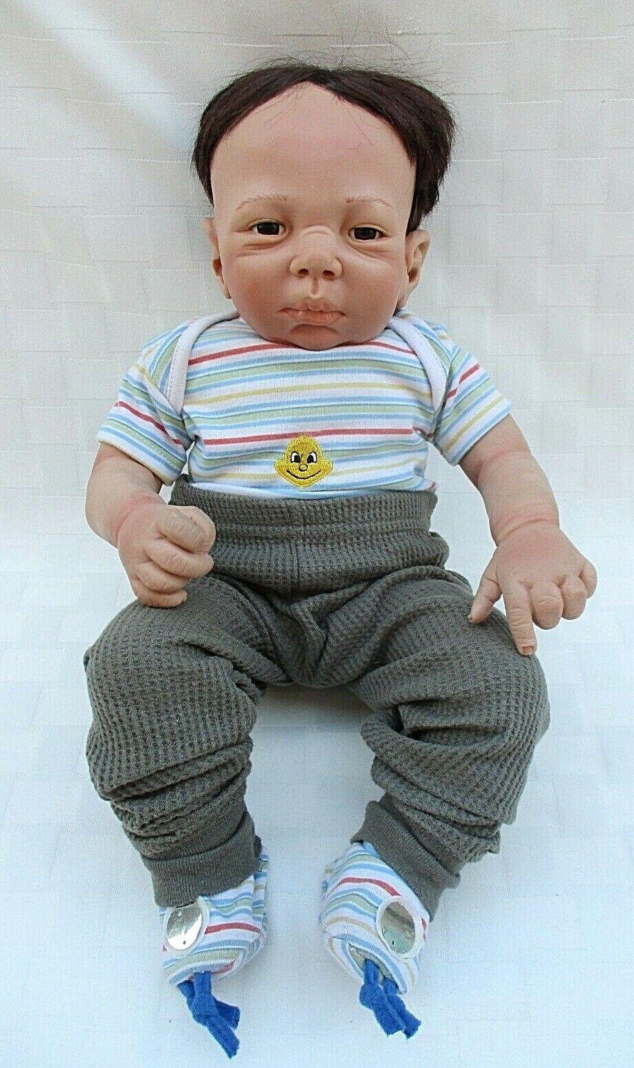 "VTG AEL 18"" REALISTIC BABY DOLL KYMBERLI H DURDEN DESIGN 2006 BABY BOY W/CLOTHES"