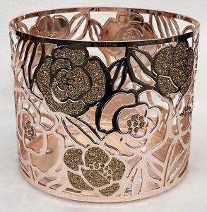 1 Bath /& Body Works ROSE GOLD GEOMETRIC Large 3-Wick Candle Holder Sleeve 14.5oz
