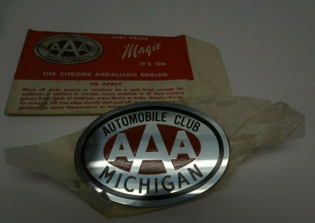 NOS AAA Award Auto Emblem Badge - Vintage Chrome Automobile Club Michigan