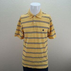 Brooks-Brothers-Yellow-Black-Original-Fit-Striped-Performance-Polo-Shirt-Mens-M