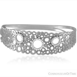 14K-White-Gold-amp-Diamond-Modern-Bangle-Bracelet-1-2-Carat-of-Diamonds