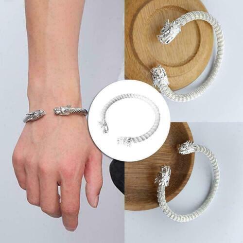 Men Women Exquisite Birthday Gift Vintage Bangle Silver Alloy Dragon Bracel A7J6