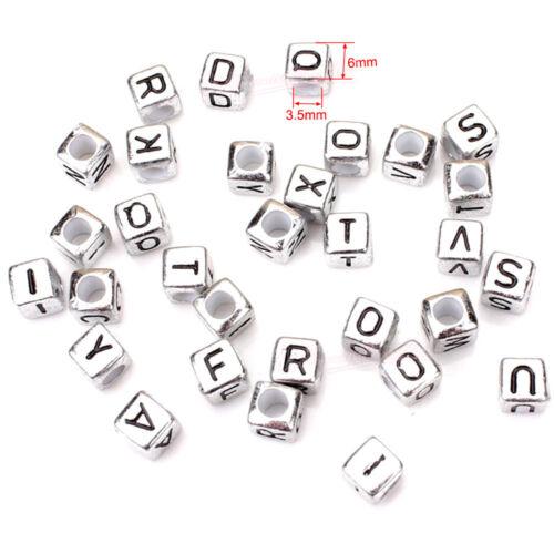400 To 600 mixte Lettre Alphabet Perles Blanc Argent Noir coloré transparent