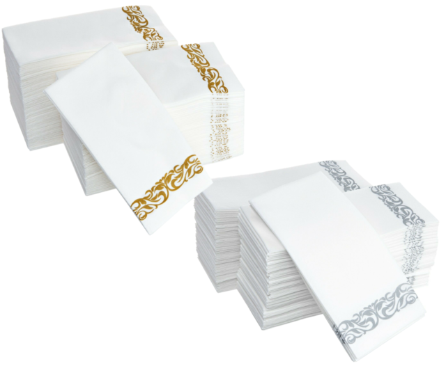 Durable /& Decorative Cloth-Like Soft Bathroom Hand Napkins for Dinner Wedding or Cocktail Party Party Bargains Disposable Linen-Feel Paper Guest Towels White /& Silver 100 Count