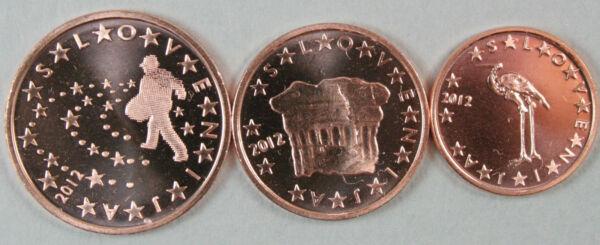 1c, 2c Et 5 Cents Slovéniel 2007. Unc Riche Et Magnifique