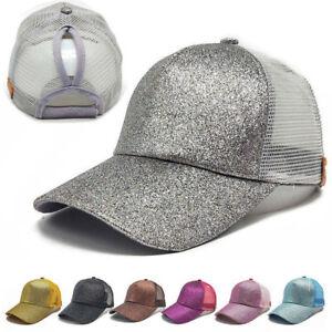 0001ab05fba7c Hot Ponytail Baseball Cap Women Messy Bun Baseball Hat Snapback Sun ...