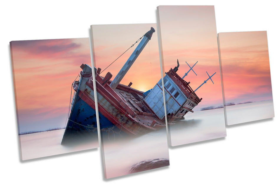 Beached Fishing Boat Sunset Picture MULTI CANVAS WALL ART Print