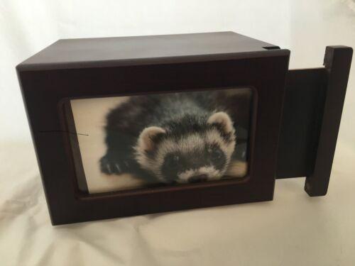 Pet Urn,Dog Cat Small Animal Cremation Urn Photobox,Color Cherry