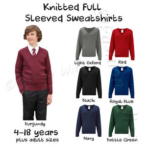 Boys-School-Jumper-Knitted-Sweatshirt-V-Neck-School-Ages-3-18-Adult-Size
