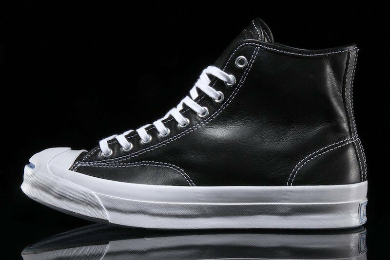 NIB $150 Converse Jack Purcell Signature Hi Hi Hi Leather Black 153586C US Mens 8.5 da80c0
