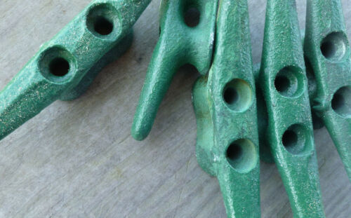 """4/"""" CLEAT Green Lot-5 Galvanized Chock Boat Ship Dock CLEATS Sailboat Hardware"""