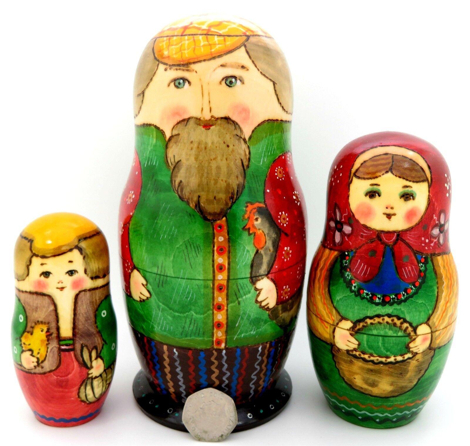 Russian nesting dolls 3 peint à la main traditionnelle Papa & poulet Babushka RYABOVA