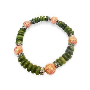 Connemara-marble-amp-Picasso-Czech-Glass-Celtic-knot-Stretch-Bracelet